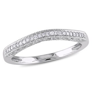 Miadora 10k White Gold Diamond Curved Wedding Band