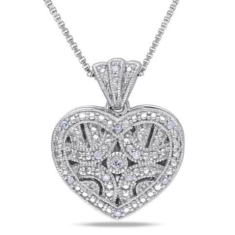 Miadora Sterling Silver Diamond Accent Heart Locket Necklace