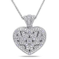 Miadora Sterling Silver Diamond Accent Heart Locket Necklace