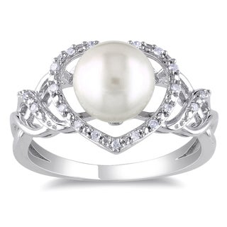 Miadora Sterling Silver White Pearl and 1/10ct TDW Diamond Ring (H-I, I2-I3) (8-8.5 mm)