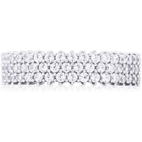 Blue Box Jewels Sterling Silver Cubic Zirconia 3-row Eternity Band