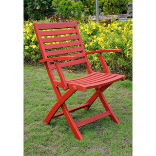 International Caravan Royal Fiji Acacia Folding Ladder Back Patio Chair (Set of 2)