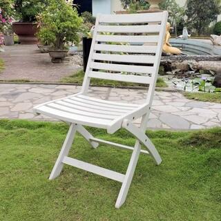 Royal Fiji Acacia Folding Ladder Back Patio Chair (Set of 2)