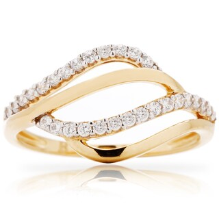 Blue Box Jewels Gold over Silver Cubic Zirconia Wave Cloud Ring (4 options available)