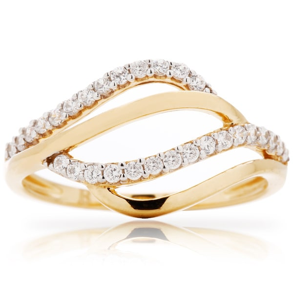 Blue Box Jewels Gold over Silver Cubic Zirconia Wave Cloud Ring