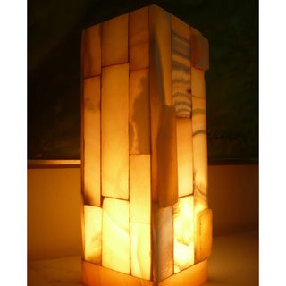 Handmade 11.5-inch Alabaster Accent Lamp , Handmade in Egypt