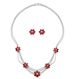 Blue Box Jewels Rhodium-plated Sterling Silver Cubic Zirconia Flower Necklace and Earrings Set
