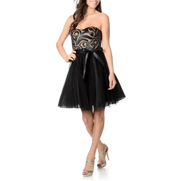 Onyx Nite Women's Laser Cut Satin and Tulle Party Dress
