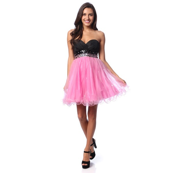 Jump Apparel Juniors Black and Pink Sequin Tulle Party Dress