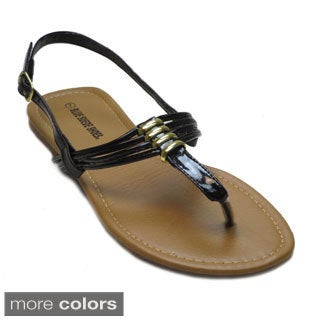 Blue Women's 'Adriana' Multi T-strap Flat Sandals