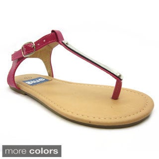 Blue Girls 'K-Apple-2' Slender T-strap Flat Sandals