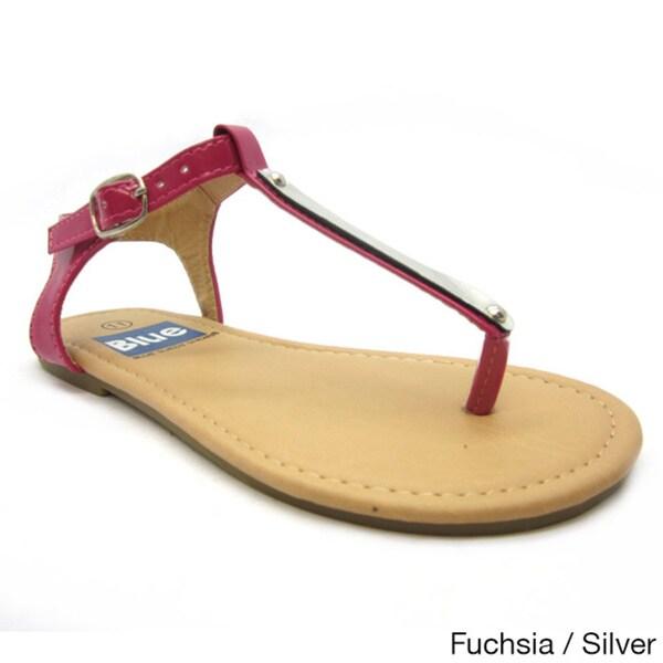 d72be0f3a Shop Blue Girls  K-Apple-2  Slender T-strap Flat Sandals - Free ...