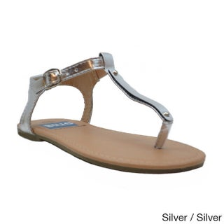 Blue Girls 'K-Apple-2' Slender T-strap Flat Sandals (More options available)