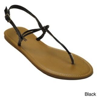 Blue Women's 'Genie' Slender T-strap Flat Sandals