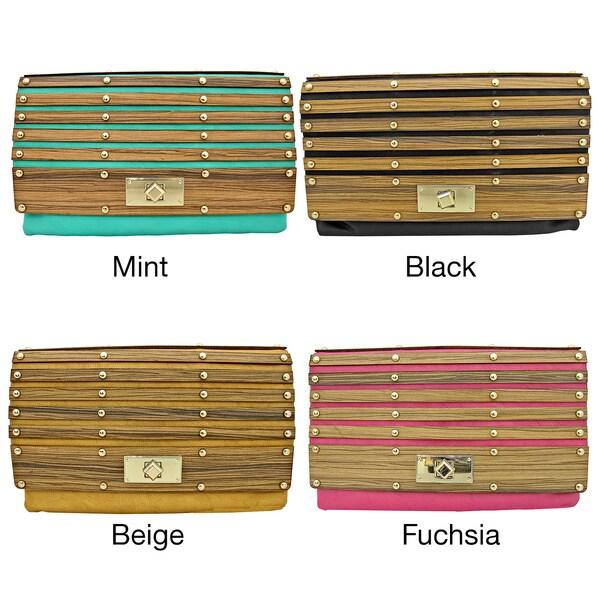 'Brooke' Wooden Paneled Clutch Bag