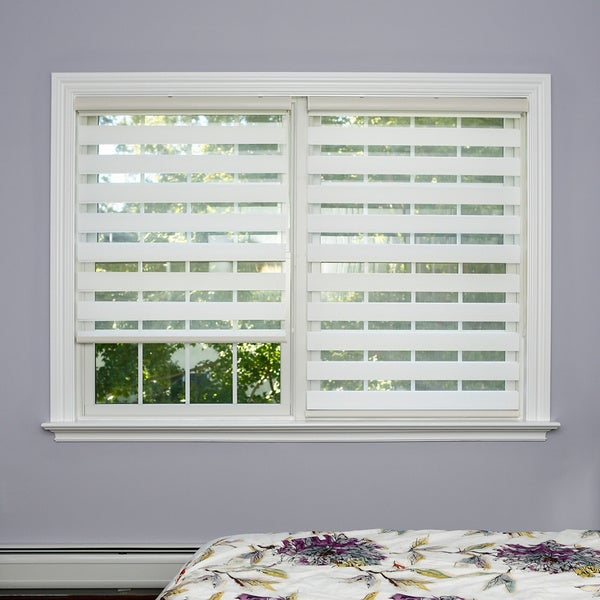 Aurora home premium duo roller white wood look window for White shades for windows