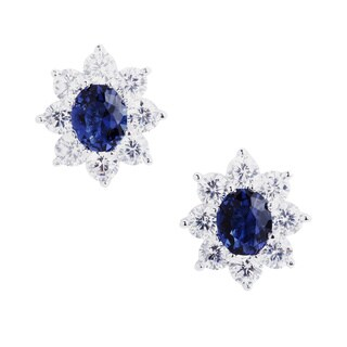 Blue Box Jewels Rhodium-plated Sterling Silver Sapphire CZ Stud Earrings