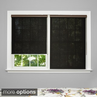 Aurora Home Premium Wood Look Roller Window Charcoal Shade