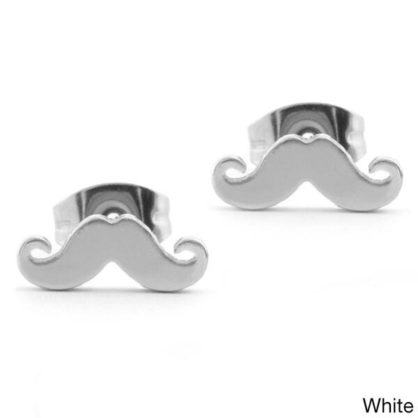 Stainless Steel Mustache Stud Post Earrings