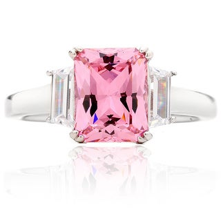 Blue Box Jewels Rhodium-plated Sterling Silver Emerald Cut Pink And White Cubic Zirconia Anniverary Ring