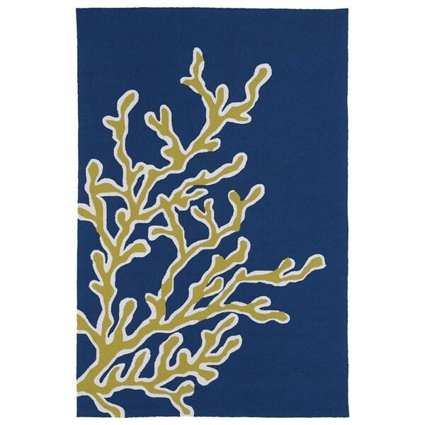 Indoor/ Outdoor Luau Blue Coral Rug - 8'6 x 11'6