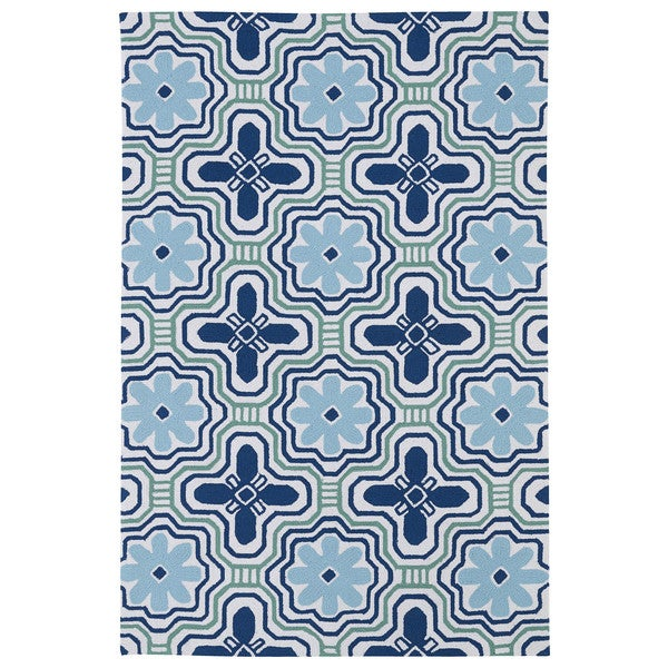 "Handmade Luau Ivory Tile Indoor/ Outdoor Rug (5' x 7'6) - 5' x 7'6"""