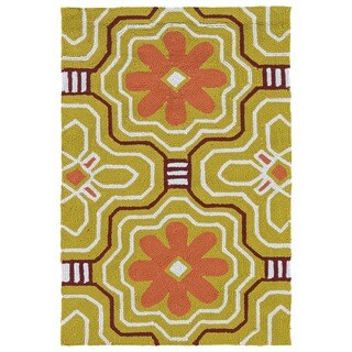 Handmade Luau Gold Tile Indoor/ Outdoor Rug (2' x 3') - 2' x 3'