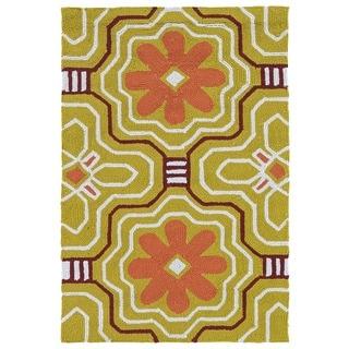 Handmade Luau Gold Tile Indoor/ Outdoor Rug - 2' x 3'