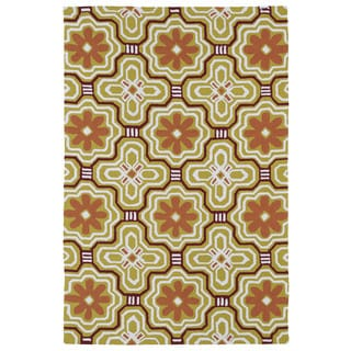 Handmade Luau Gold Tile Indoor/ Outdoor Rug (8'6 x 11'6)