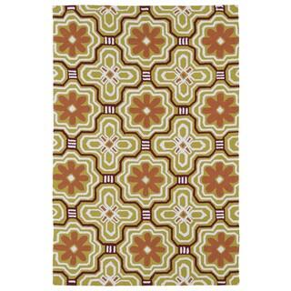 Handmade Luau Gold Tile Indoor/ Outdoor Rug - 8'6 x 11'6