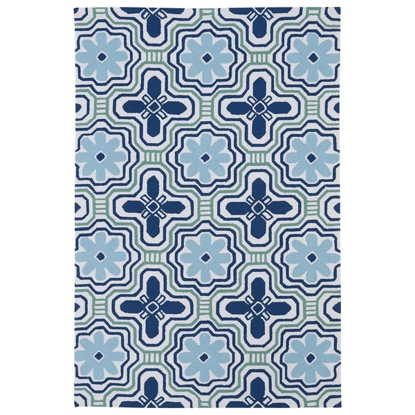 Luau Ivory Tile Indoor/ Outdoor Area Rug - 8'6 x 11'6