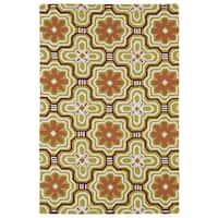 Luau Gold Tile Indoor/ Outdoor Area Rug (7'6 x 9') - 7'6 x 9'