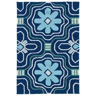 Indoor/ Outdoor Luau Blue Tile Rug - 2' x 3'