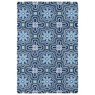 """Indoor/ Outdoor Luau Blue Tile Rug (7'6 x 9') - 7'6"""" x 9'"""