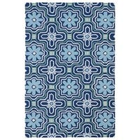 Indoor/ Outdoor Luau Blue Tile Rug - 7'6 x 9'