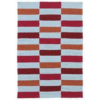 Indoor/ Outdoor Luau Multicolored Stripes Rug (2' x 3')