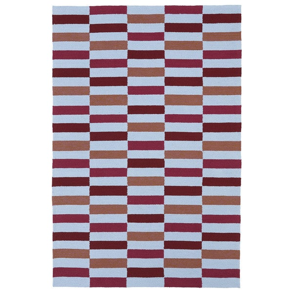 Indoor/ Outdoor Luau Multicolored Stripes Rug - 8'6 x 11'6