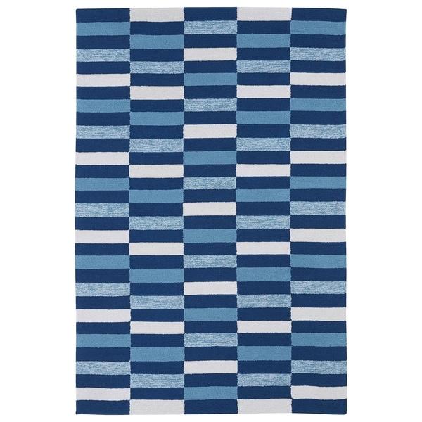 Indoor/ Outdoor Luau Blue Stripes Rug (3' x 5') - 3' x 5'