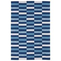 Indoor/ Outdoor Luau Blue Stripes Rug - 5' x 7'6