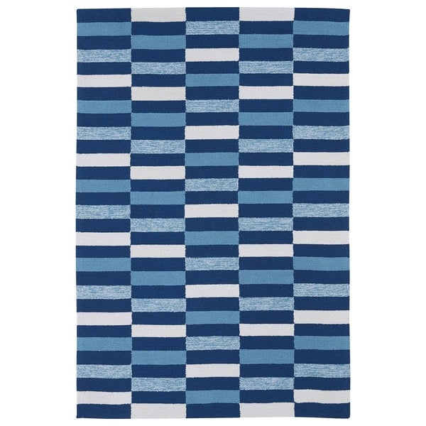 Indoor/ Outdoor Luau Blue Stripes Rug - 8'6 x 11'6
