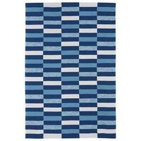 Indoor/ Outdoor Luau Blue Stripes Rug - 8'6 x 11'6
