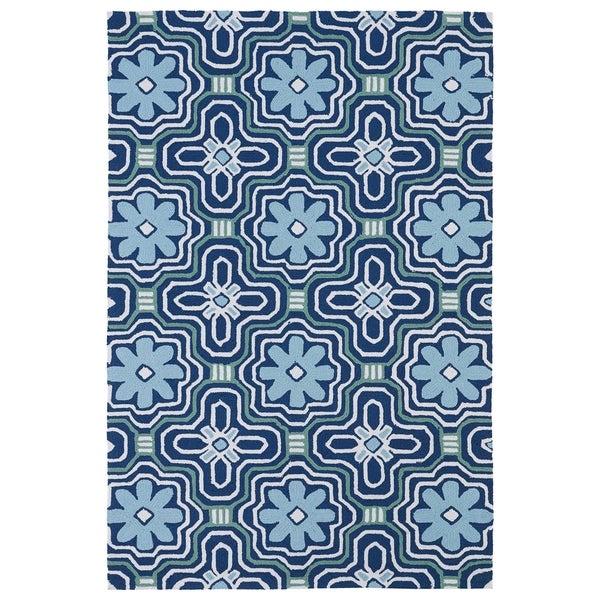 Indoor/ Outdoor Luau Blue Tile Rug (8'6 x 11'6) - 8'6 x 11'6