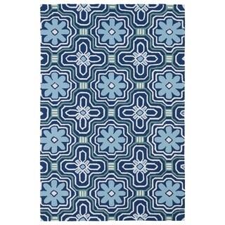 Indoor/ Outdoor Luau Blue Tile Rug (8'6 x 11'6)