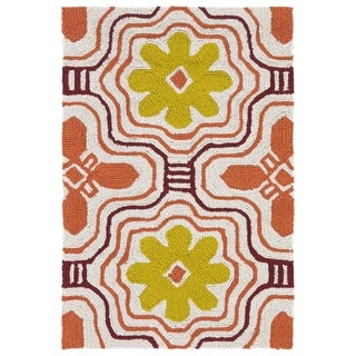 Indoor/ Outdoor Luau Orange Tile Rug (2' x 3') - 2' x 3'
