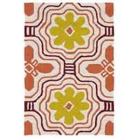 Indoor/ Outdoor Luau Orange Tile Rug - 2' x 3'