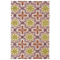 Indoor/ Outdoor Luau Orange Tile Rug - 7'6 x 9'