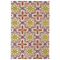 Indoor/ Outdoor Luau Orange Tile Rug (8'6 x 11'6)