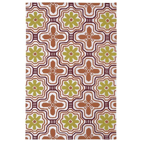 Indoor/ Outdoor Luau Orange Tile Rug (8'6 x 11'6) - 8'6 x 11'6