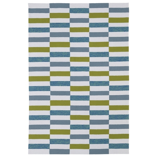 Indoor/ Outdoor Luau Ivory Stripes Rug - 8'6 x 11'6