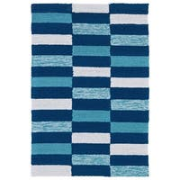 Indoor/ Outdoor Luau Blue Stripes Rug - 2' x 3'